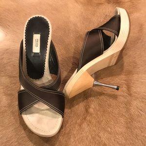 Prada Wooden Shoe with Metal heel Size 7